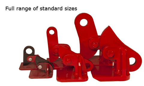horizontal lifting clamps in various sizes