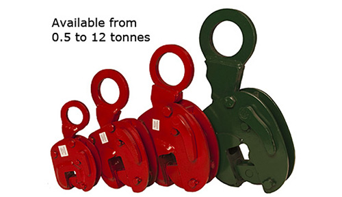 vertical lifting clamps in various sizes